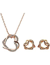 Yellow Chimes Moxie Collection Embracing Hearts In Love Alloy Pendant Set For Women And Girls...