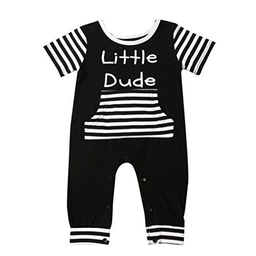 Longra Bébé Lettre Rayée Combinaison Romper Vêtements Outfits(0-2 ans) (24M, Noir)