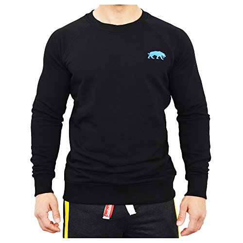 SMILODOX Slim Fit Sweatshirt Herren | Sweater für Sport Fitness & Freizeit | Longsleeve - Langarmshirt Trainingsshirt Langarm - Pullover - Sportshirt mit Aufdruck, Farbe:Schwarz, Größe:XL
