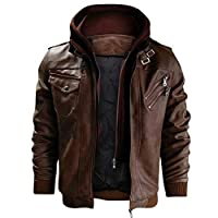 Men's Hoodies Detachable Pure Color Imitation Leather Coat Jackets Vintage Loose Casual And Business Blousers