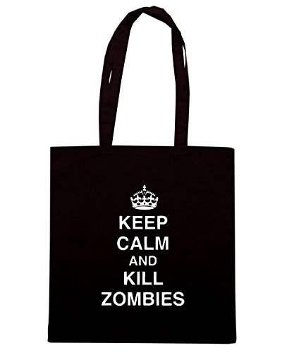 Cotton Island - Borsa Shopping TZOM0042 keep calm and kill zombies tshirt, Taglia Capacita 10 litri