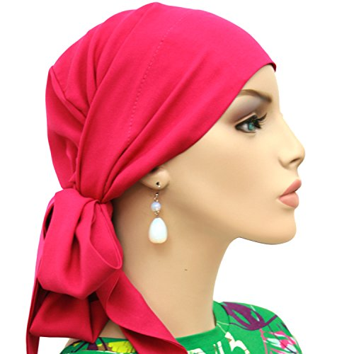 Hats for You Women's Short Tail Chemo Head Wrap, Fuchsia, One Size
