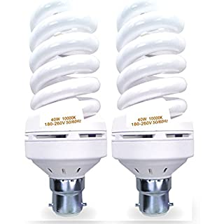 SIMPA® (40W, B22) [Pack of 2] Energy Saver Full Spiral Light Bulb CFL 40W T4 B22 Bright White 10000K Light 180-250V, 50/60Hz, 65lm/w [Energy Class A] - X2