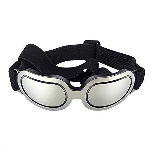 LRKZ Brille Für Haustiere, UV-Schutz, Verstellbare Sonnenbrille Mit Trägern, Schutzbrille Für Welpen Und Katzen, Geeignet Für Kleine Und Mittlere Hunde,Silver