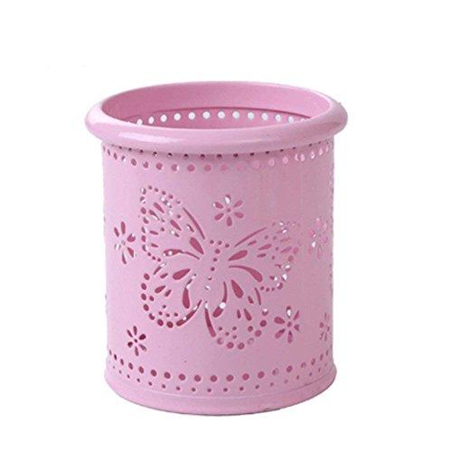Lumanuby 1x Hohl Schmetterling Stiftehalter Round Metall Tisch Organizer für Stifte, Lineale oder Make-up-Pinsel, Rosa 7.5*7.5*10cm -