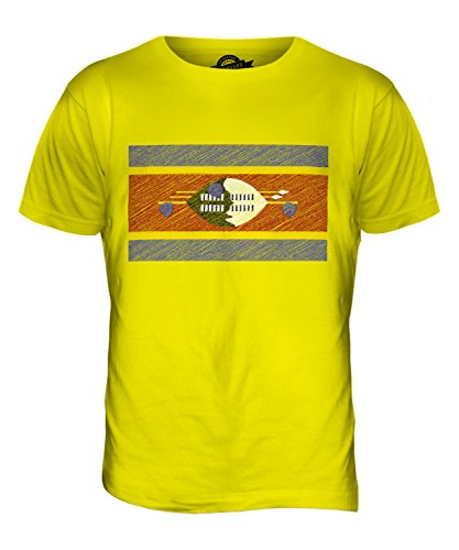 CandyMix Swasiland Kritzelte Flagge Herren T Shirt Zitronengelb