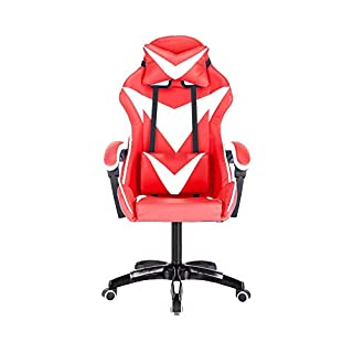 Bseack PC Computer Video Chair,High-Back Gaming Racing Office Seat Ergonomic Design with Adjustable Height and Lumbar Support (Color : Red white)