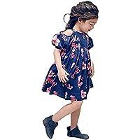 Falda de Vestir con Estampado Floral de Manga Corta para niños (18M-5T)
