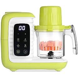 zanmini robot cuiseur 5 en 1 vapeur multifonctionnel mixeur bébé babyfood avec 2 paniers Réglage de l'heure cuire nettoyage automatique chauffer lait désinfection décongélation(vert)