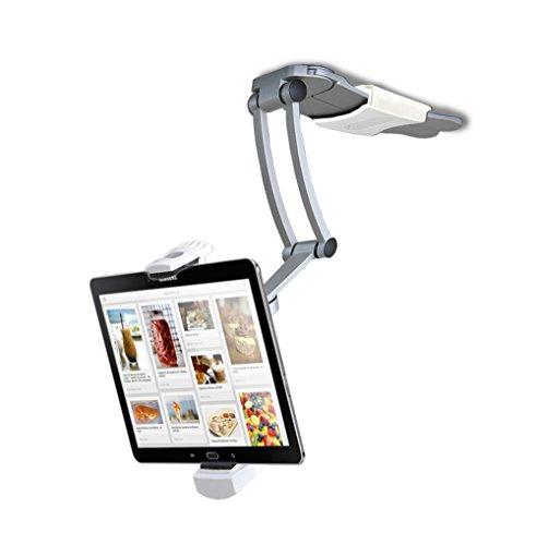Support universel articulé 2-en-1 cuisine CTA Digital compatible iPad Air / iPad mini / Surface / 7–12 pouces tablettes (PAD-KMS)