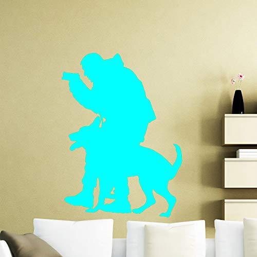 Polizist Hund Wall Decal Polizist Vinyl Aufkleber Tiere Home Interior Art Wall Decor wasserdichte Abziehbilder für Jugendliche hellblau 56x76cm