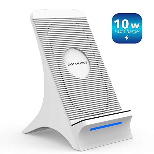 NOVETE Fast Wireless Charger, Qi Induktive Ladestation mit Lüfter 10W für Samsung Galaxy S10/S10+/S10e//Note 9/S9/S9+/S8/S8+/Note 8/S7/S7 Edge/S6 Edge, 7.5W für iPhone 8/8 Plus/iPhone X/XS/XS MAX/XR
