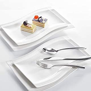 MALACASA, Série Flora, 4pcs Assiettes Plates Porcelaine Blanc Crème 2pcs 13,25