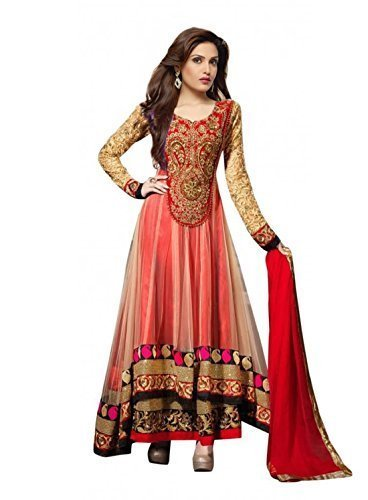 Shiv Fashion Women\'s Net Semi Stitched Anarkali Suit (Shradha & Red suit_Beige & Red_Free Size)(SR001)