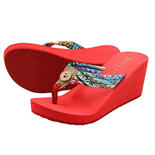 Vertvie Femme Boho Été Tongs Chaussons Pantoufles à Talon Haut Sandales de Plage Maison Antidérapant Rouge