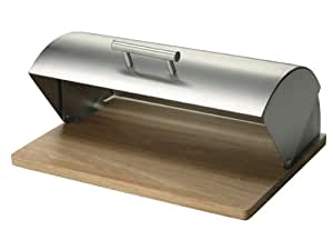 Zeller 20475 Boite à pain inox/hévéa, 39 x 29 x 16 cm