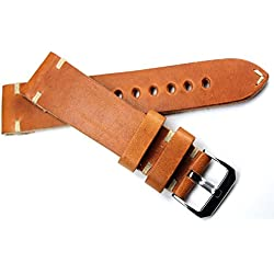 22mm Light brown Leather Band White Stitching 22/20Mm Retro Look Quality Strap RIOS Handmade BS Top Quality