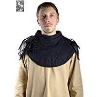 Ready For Battle acolchado cuello con placas de hombro cuello Anillo para cuello placa hombro Protección LARP Medieval Combate de exhibición Vikingo Varios Modelos, negro, small