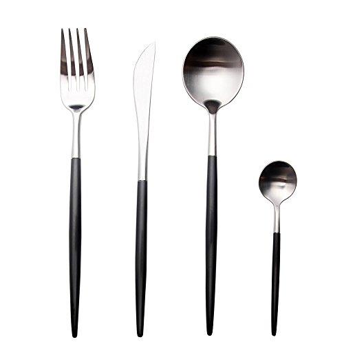 Ménagère design Couteaux à Steak en acier inoxydable poli 4 6 12 personnes noir/argent