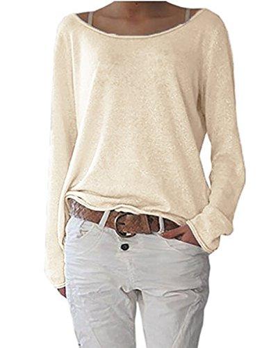 ZIOOER [Design Damen Pulli Langarm T-Shirt Rundhals Ausschnitt Lose Bluse Hemd Pullover Oversize Sweatshirt Oberteil Tops Hellbeige 2XL