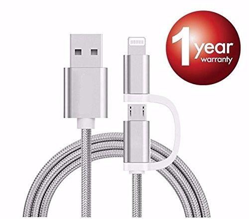 Eyuvaa 2 in 1 iPhone And Micro USB 2.0 & 2.4A Charging Data Sync & Charge Cable adapter for Android , Apple iPhone 5 / 6 / 6S / 7 multi cable And Other Compatible Devicesfor Oppo R1x