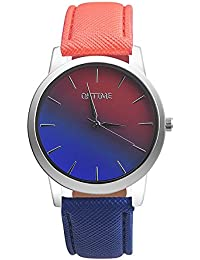 Womens Quartz Watches,Ulanda-EU Unique Rainbow Design Analog Clearance Lady Wrist Watch Female watches on Sale Watches for Women,Round Dial Case Comfortable Faux Leather Wristwatch m59 (S-Orange+Blue)