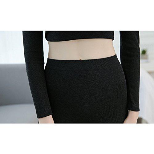 Zhhlaixing Inverno Mantieni Caldo Lace Round Neck Slim Keep Warm Thermal Underwear Top & Bottom Gray