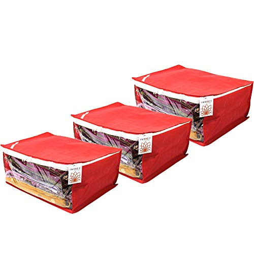 Saree Cover foldable box type Bags with transparent Window Red-3 pc set Non Woven fabric with Zip combo   Dustproof Durable water resistant multiple sari packing   Easy storage Bag for sarees in Cupboard wardrobe  Travel organiser  Marriage wedding Gifting giveaway purpose sareecover by INDOZY SC-RWC-3