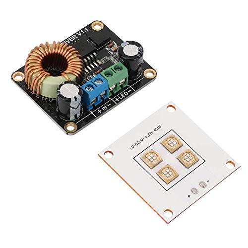 Piezas de la impresora 3D, Keenso Panel de lámpara de fuente de luz LED UV de 40W de impresora DLP y Tablero de conductor de 30W LED