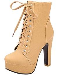 b222ee925d26 AIYOUMEI Damen Schnürstiefeletten High Heels Plateau Stiefeletten mit  Blockabsatz zum Schnüren Ankle Boots 11cm Absatz Winter