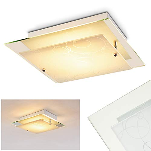 Deckenleuchte Riad Quadratisch aus Glas mit Kreis-Dekor - Deckenspot mit Muster - E27 Deckenlampe ideal als Spot Wohnzimmer - Deckenleuchte Küche - Deckenspot Glas - indirektes Licht - 30 x 30 x 9 cm