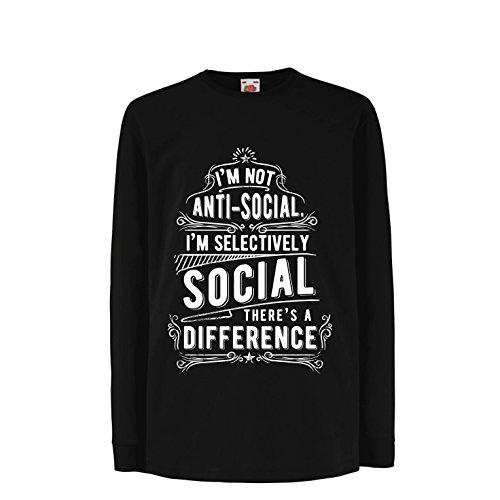 Niños/Niñas Camiseta No Soy Antisocial Solo selectivamente Social, Gracioso Diciendo, Citas de Humor sarcástico (14-15 Years Negro