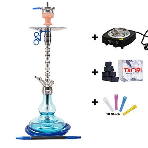 Preisvergleich Produktbild AMY Deluxe Shisha Tango SS15.01 blau im Set mit Kohleanzünder,  Naturkohle und Hygienemundstücke