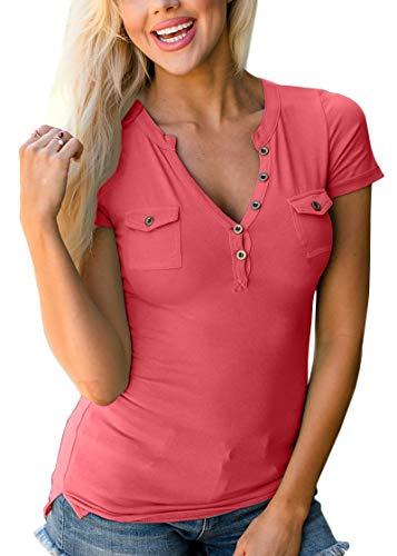 BesserBay Damen Kurzarm T-Shirt V-Ausschnitt Baumwolle T Shirt Damentop Casual Tshirt mit Knopf Rot 44 -