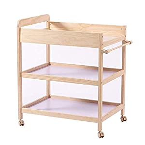 Baby Changing Table Dresser Nursing Station with Casters Portable Bath Organizer for Infant Moving Wood Storage- Natural (Size : 80x58x100cm)   8
