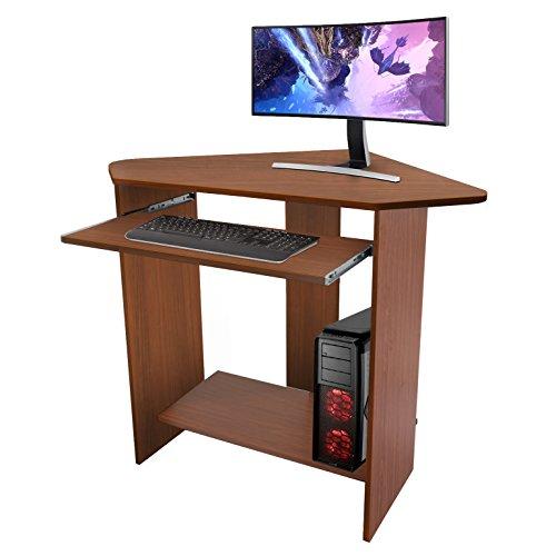 kendan banshee nogal u escritorio de esquina para casa u oficina con bandeja deslizante para teclado y soporte para torre de ordenador de la horquilla de