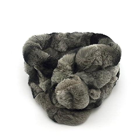Luxueux Furry doux Echarpe gris et noir