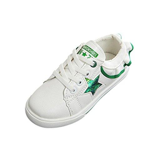 Spitze Sneaker Kinder, DoraMe Baby Mädchen Paillette Sterne Brief Skate Schuhe PU Leder Freizeitschuhe Anti-rutsch Schnür Turnschuhe für 4-11 Jahr (10 Jahr/Size(CN):34, Grün)