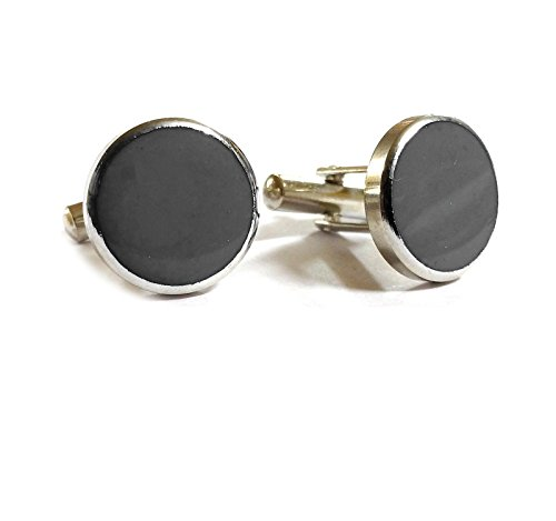 Blacksmith Silver Round Grey cufflink for Men  available at amazon for Rs.199