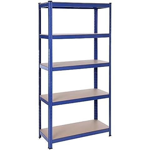 Songmics Estantería resistente acero con recubrimiento en polvo en color azul y tablero DM sin tornillos 5 niveles 180 x 90 x 40 cm 875 kg GLR40Q