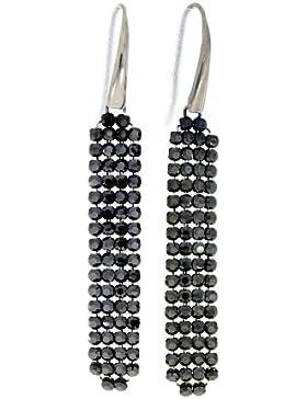 Spark Damen Ohrring lang, 925 Sterling Silber, beweglich mit 64 Swarovski Elements weiss je Ohrring