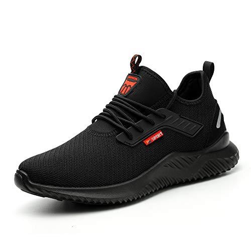 Ulogu Sicherheitsschuhe Herren Arbeitsschuhe Damen Leicht Atmungsaktiv Schutzschuhe Stahlkappe Sneaker Wanderschuhe 45 EU Schwarz#8