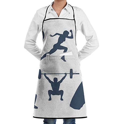 DFHFD SHOP Küchenschürzen Kochschürze Chef Schürzen Crossfit Adjustable Bib Apron Waterdrop Resistant with Pockets Cooking Kitchen Aprons for Women Men Chef (Crossfit Schürze)