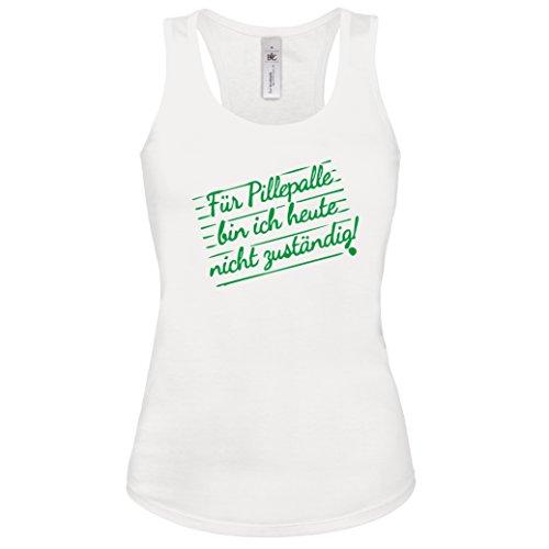 lustiges Shirt -Tank Top Für Pillepalle bin ich heute nicht zuständig! Lustige Büro Sprüche Damen Tanktop WEISS-NEONGRÜN