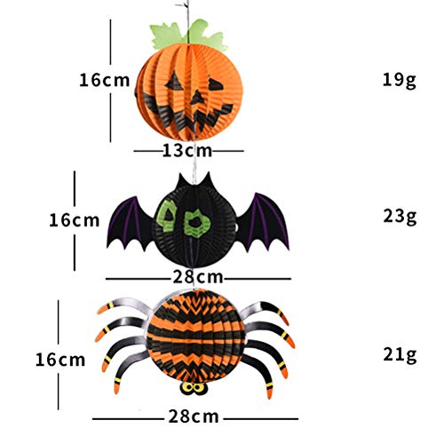 3D Bat Kürbis Spinne Papier Laterne Hängende Dekorationen für Party Club Pub ()