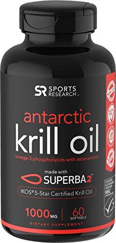Sports Research Antarktis Krill Öl (Doppelstärke) 1000Mg Omega-3 Fettsäuren Epa, Dha Und Astaxanthin   60 Flüssige Softgel - 2 Monats-Vorrat