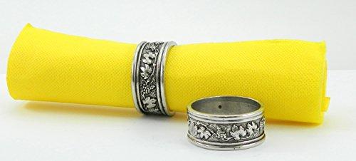 6 Pack Serviettenringe zinn Silber, handgefertigt in Italien von Cavagnini