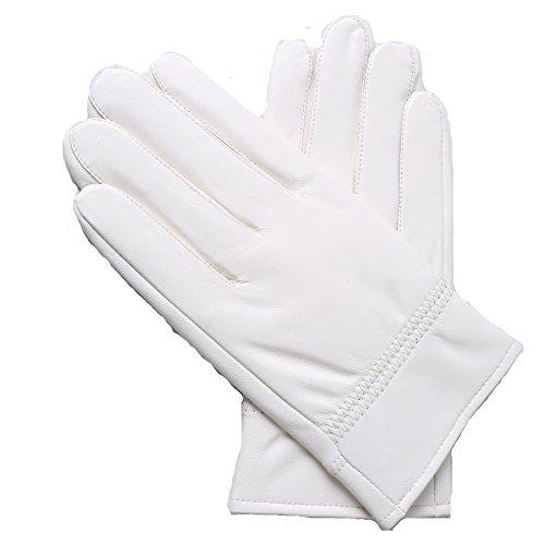 Yosang Herren Weiches echtes Lammleder -Handschuh -Winter-warme Polizist Jagd weiß (Echt Leder Fahren Hut)