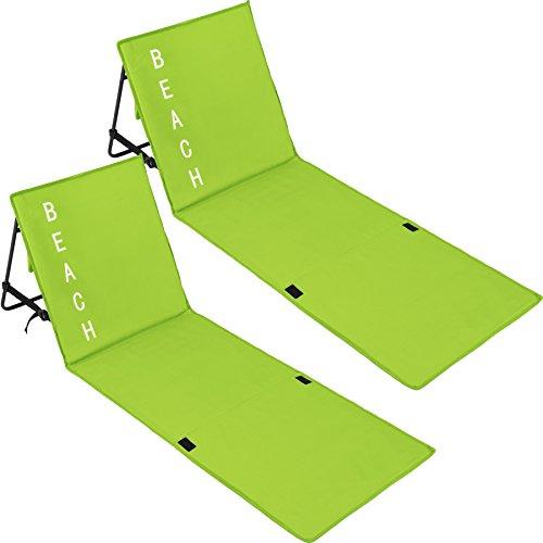 TecTake 800584 2er Set Gepolsterte Strandmatte mit Verstellbarer Rückenlehne und praktischem Tragegurt - Diverse Farben - (Grün | Nr. 402988)