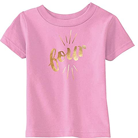 Crazy Dog TShirts - Toddler Four Years Old Gold Shimmer Application Cute Birthday T shirt (Pink) 2T - Enfant